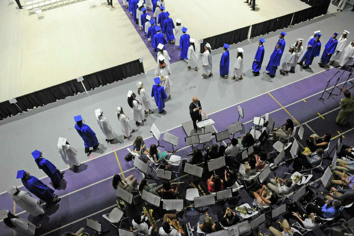 Graduates process during the 2016 Shaker High School graduation at the UAlbany SEFCU Arena on Saturday June 25, 2016 in Albany, N.Y. (Michael P. Farrell/Times Union)