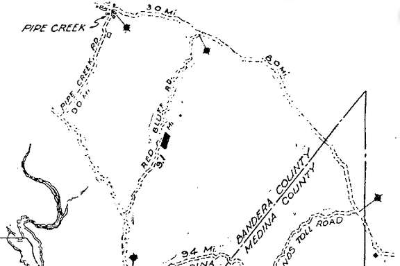 Map of routes to and around Medina Lake from the San Antonio Light, May 19, 1946.