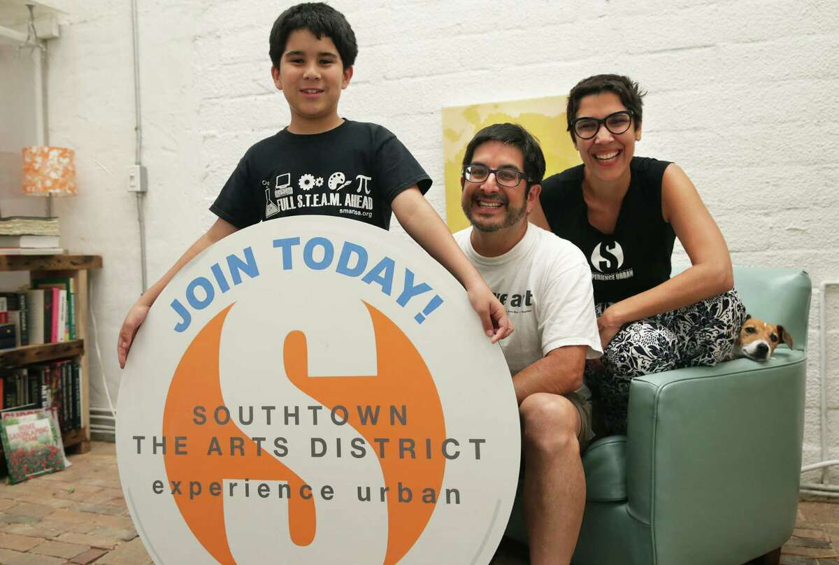 Agosto joins his parents Andy and Yvette Benavides at home as they talk about the 5-square-mile area are promoting as the Southtown the Arts District.