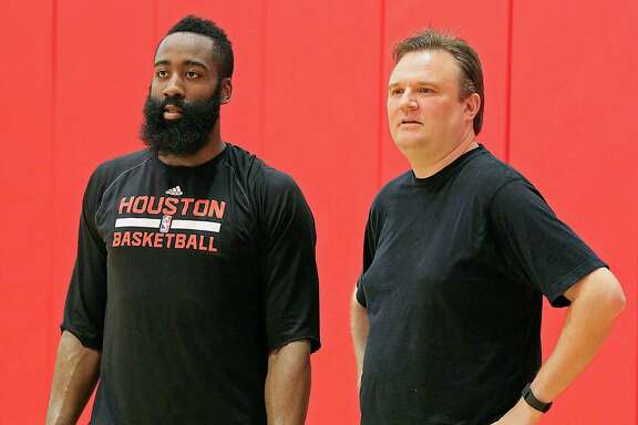 Rockets guard James Harden, left, says he'll help general manager Daryl Morey this summer by recruiting free agents to the team.