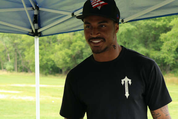 Jaelen Strong at his annual football camp in Philadelphia.