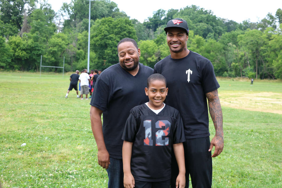 Jaelen Strong poses for a photo at his annual football camp in Philadelphia.