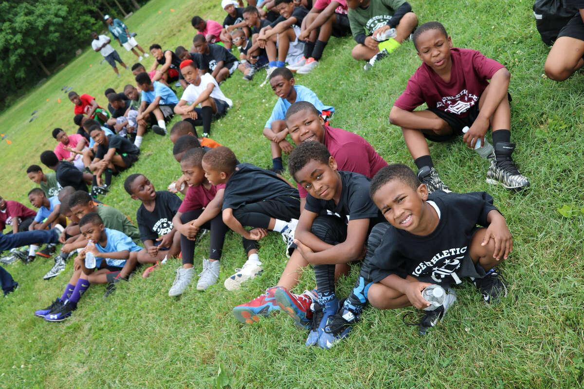 Kids at Jaelen Strong's annual football camp in Philadelphia.