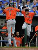KANSAS CITY, MO - JUNE 25:  Carlos Correa #1 of the Houston Astros celebrates his home run with Jose Altuve #27 in the second inning against the Kansas City Royals at Kauffman Stadium on June 25, 2016 in Kansas City, Missouri.