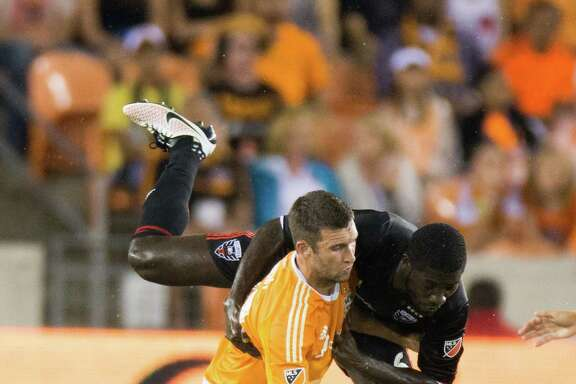 The Dynamo's Will Bruin, left, has scored four goal in his last four games against Portland. He hopes to end his current scoring drought in today's match against the Timbers.