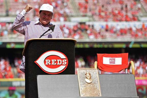 All-time hits leader Pete Rose was inducted into the Reds Hall of Fame on Saturday. Although his lifetime ban prevents enshrinement in Cooperstown, the Reds got permission to honor the 75-year-old themselves.