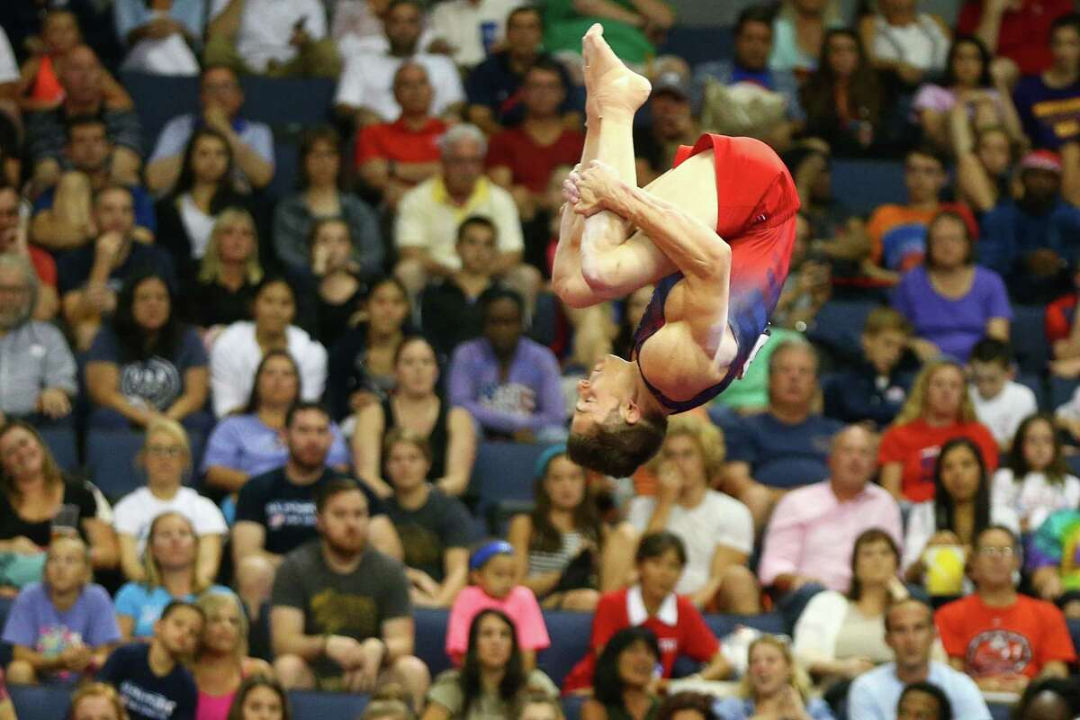 ST. LOUIS, MO - JUNE 25: Chris Brooks competes on the vault during day two of the 2016 Men's Gymnastics Olympic Trials at Chafitz Arena on June 25, 2016 in St. Louis, Missouri.