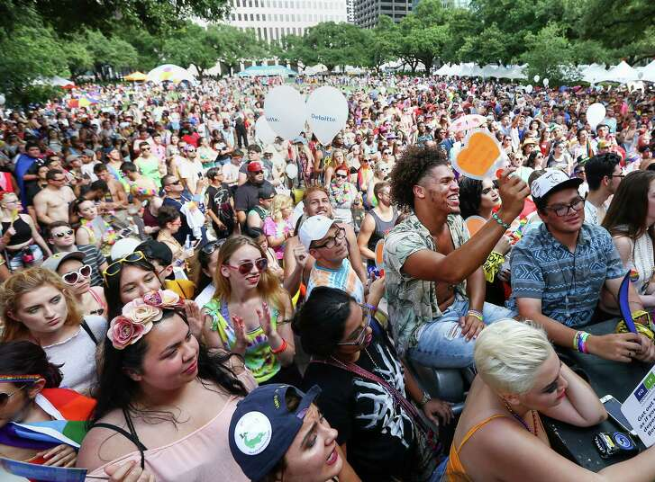 Thousands of people gather in Hermann Square downtown to celebrate the 2016 Houston Pride Festival.