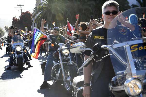 Members of Dykes on Bikes cheer at the start of the march during the San Francisco Dyke March rally at Dolores Park in San Francisco, CA Saturday, June 25, 2016.