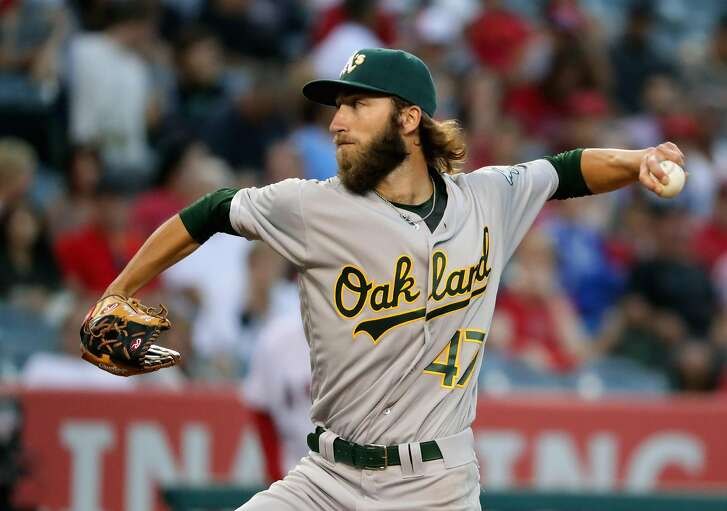 ANAHEIM, CA - JUNE 25:  Dillon Overton #47 of the Oakland Athletics pitches during the second inning of a baseball game against the Los Angeles Angels of Anaheim at Angel Stadium of Anaheim on June 25, 2016 in Anaheim, California.  (Photo by Sean M. Haffey/Getty Images)