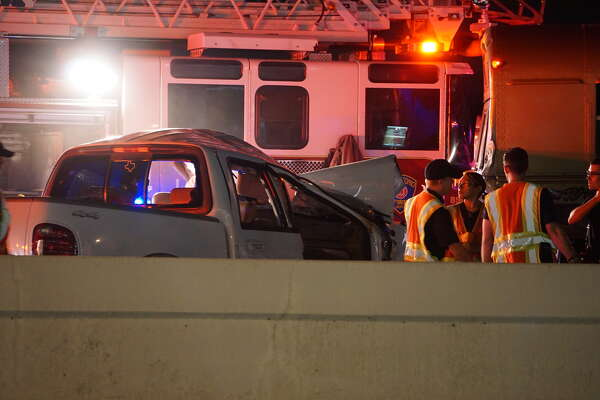 San Antonio Police said the driver of a white pickup died after an  accident at 9:20 p.m., Friday, June 25, 2016, in the westbound lane of Loop 410 near Starcrest  Drive.