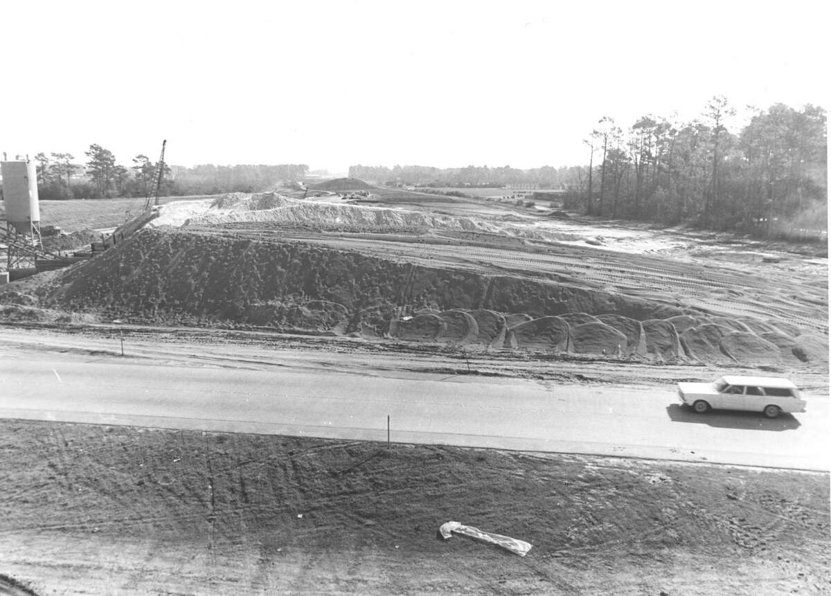 Construction on Interstate 10, looking west through Memorial Park on Dec. 20, 1966.