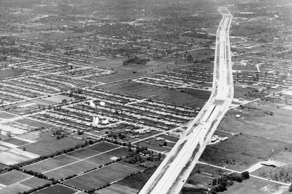 Interstate 45 looking south toward Houston. Little York Road at bottom. May 10, 1959