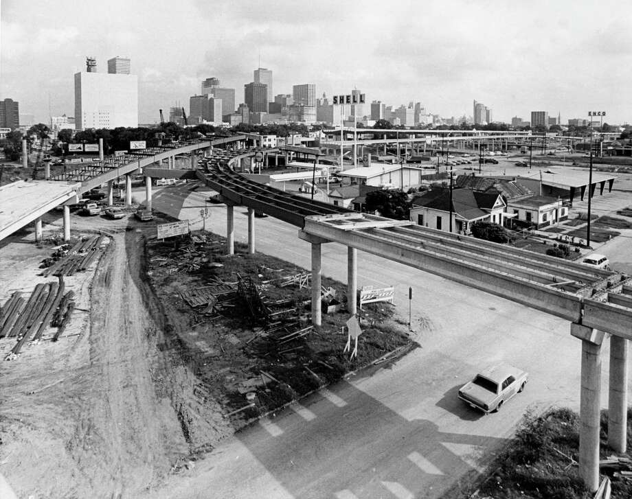 This 1971 photo shows construction of the interchange between U.S. 59 - the Eastex Freeway - and Interstate 45 - the Gulf Freeway - from the perspective of the Pierce Elevated.  Photo: Darrell Davidson, HC Staff / Houston Chronicle