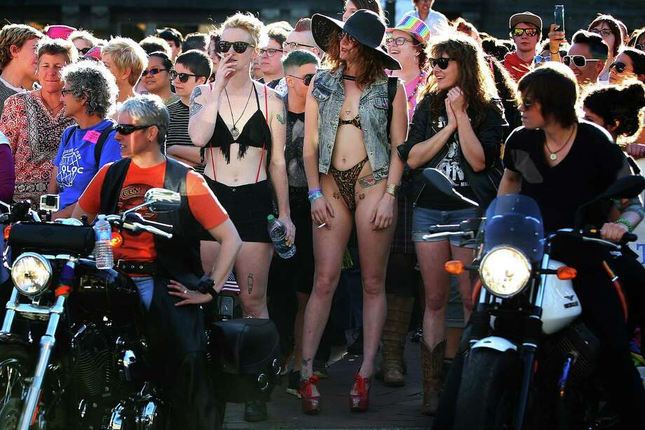 """The """"Dykes on Bikes"""" prepare to lead the annual Dyke March during a Seattle PrideFest event in Capitol Hill, June 25, 2016. Photo: GENNA MARTIN, SEATTLEPI.COM / SEATTLEPI.COM"""