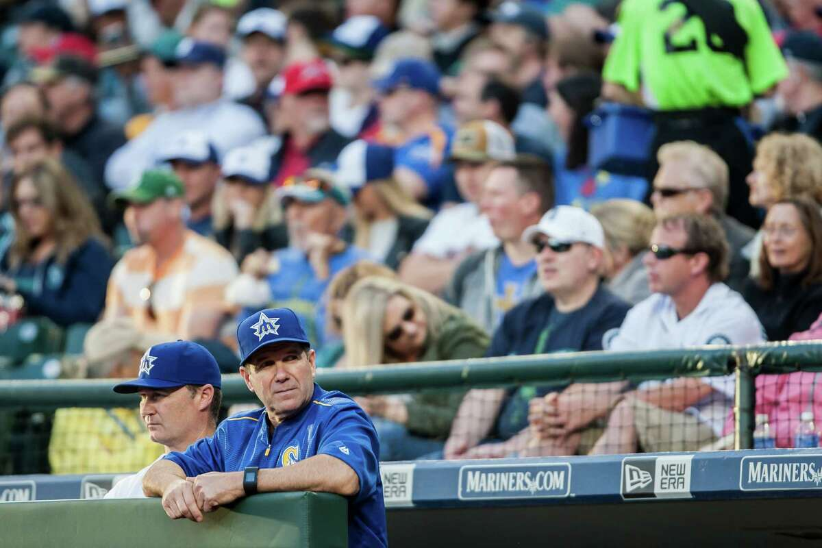 Edgar Martinez, the Mariners' hitting coach, watches a play unfold at home plate at Safeco Field on June 25, 2016.