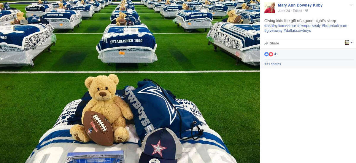 About 100 underserved kids got to have a sleepover at AT&T Stadium in Dallas as part of Ashley Furniture HomeStore's charity event. Photo via Mary Ann Downey Kirby on Facebook.