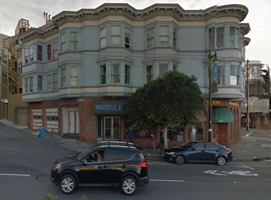 The apartment building on the corner of Columbus and Scotland streets in San Francisco's North Beach was a filming location in Clint Eastwood's Dead Pool. It's also where Neil Hutchinson is a tenant facing a dramatic rent increase. Photo: Google Maps