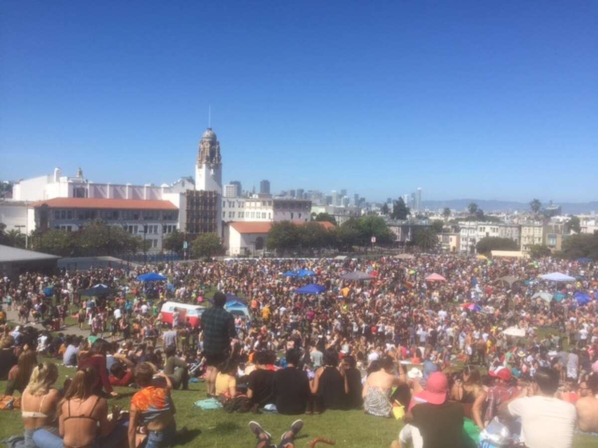 Thousands upon thousands of people poured into Dolores Park on June 25, 2016, during the Dyke March, a Gay Pride event.