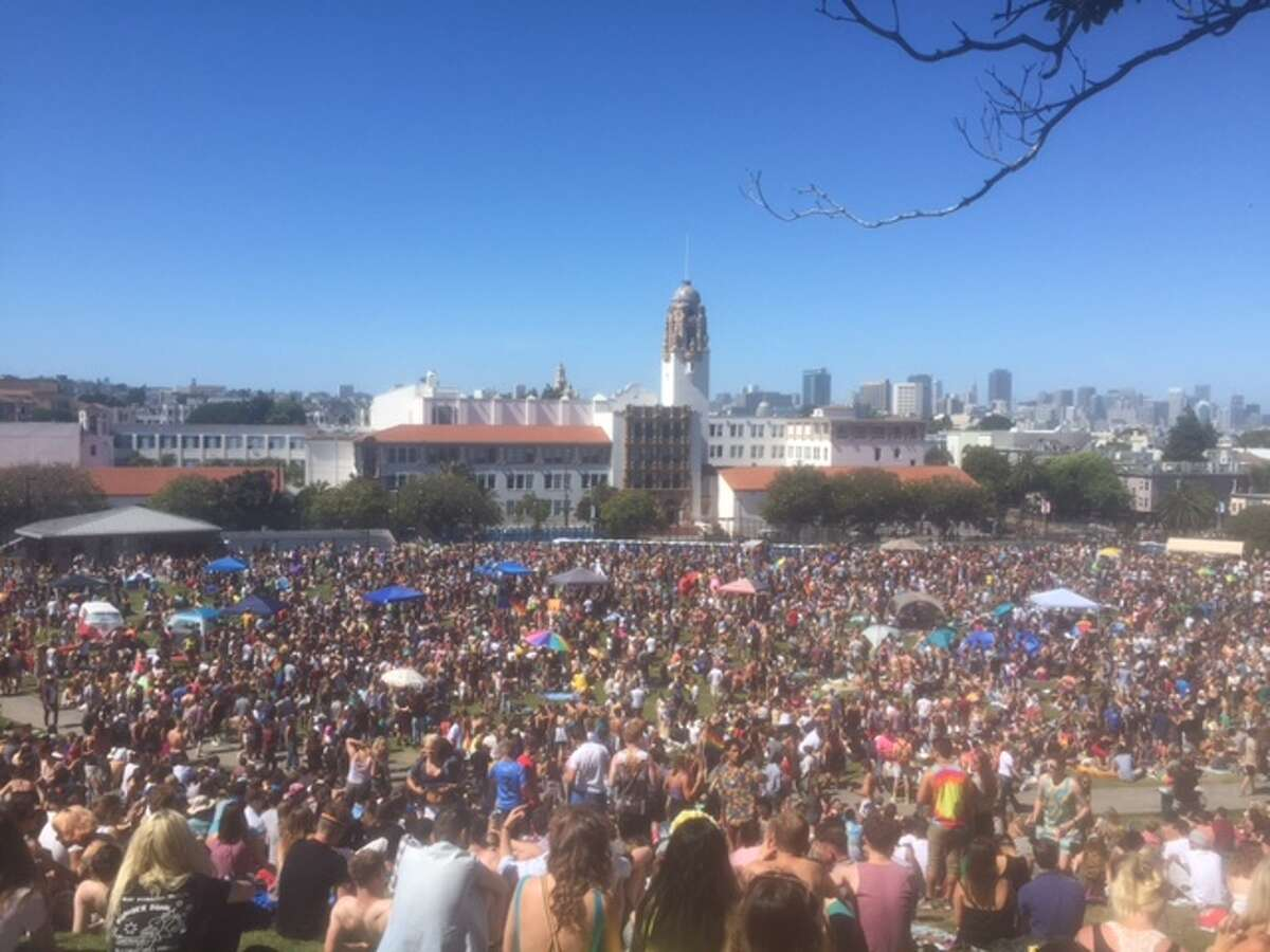 Dolores Park: This may be the city's most popular park per square foot, on weekends it can become a zoo. And on weekends when there is a Dyke March, it goes to a whole new level.