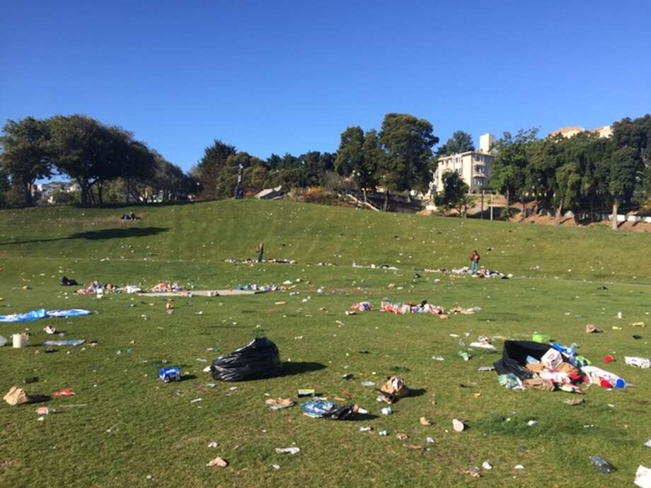Thousands upon thousands of people poured into Dolores Park on June 25, 2016, during the Dyke March, leaving behind loads of trash. Photo: Amy Graff