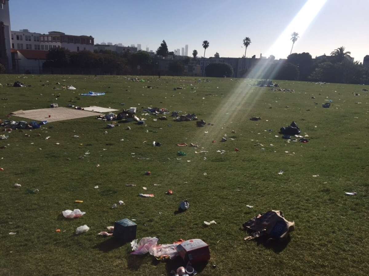 Thousands upon thousands of people poured into Dolores Park on June 25, 2016, during the Dyke March, leaving behind loads of trash.
