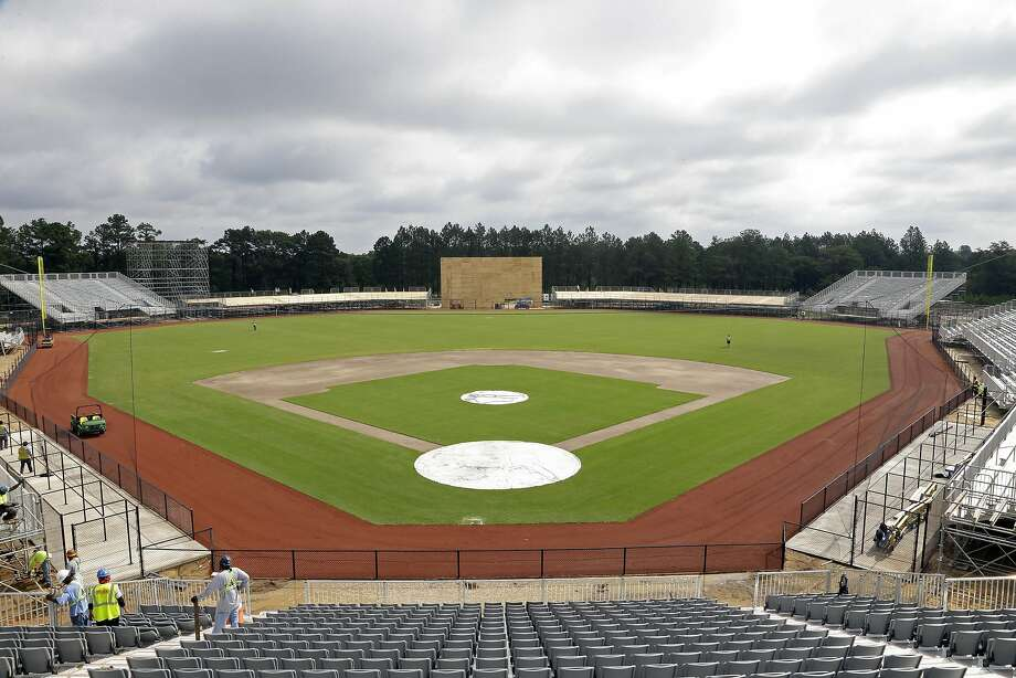 Mlb puts finishing touches on fort bragg baseball field sfgate in this photo taken thursday june 16 2016 work continues to install a malvernweather Images