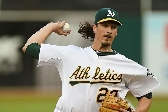 OAKLAND, CA - AUGUST 04:  Jeff Samardzija #29 of the Oakland Athletics pitches against the Tampa Bay Rays in the top of the first inning at O.co Coliseum on August 4, 2014 in Oakland, California.  (Photo by Thearon W. Henderson/Getty Images)