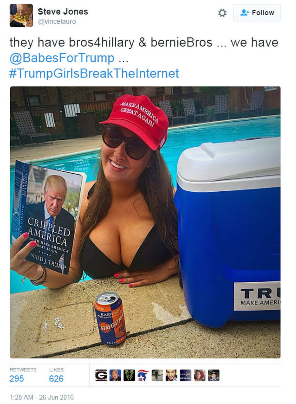 The hashtag #TrumpGirlsBreakTheInternet left social media flooded Sunday afternoon with photos of women showing support for Donald Trump.