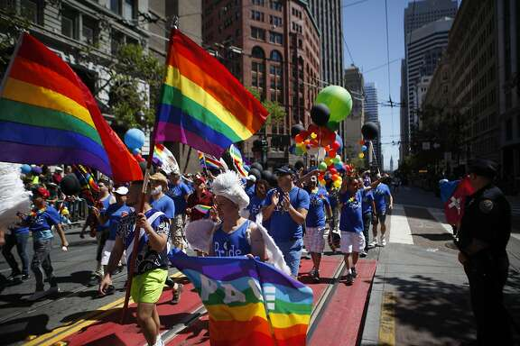 Parade participants march during the annual San Francisco Pride Parade on  Sunday, June 26, 2016 in San Francisco, California.