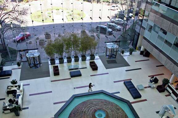 The lobby of USAA Bank at the company's San Antonio campus. USAA Bank was selected as the readers' choice for best bank.