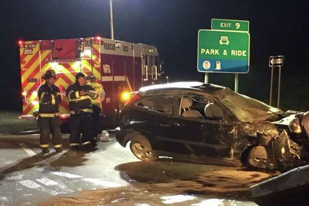 The Nichols Fire Department responded to a one-car crash on Route 25 in Trumbull early Sunday. Photo courtesy of the Nichols Fire Department.