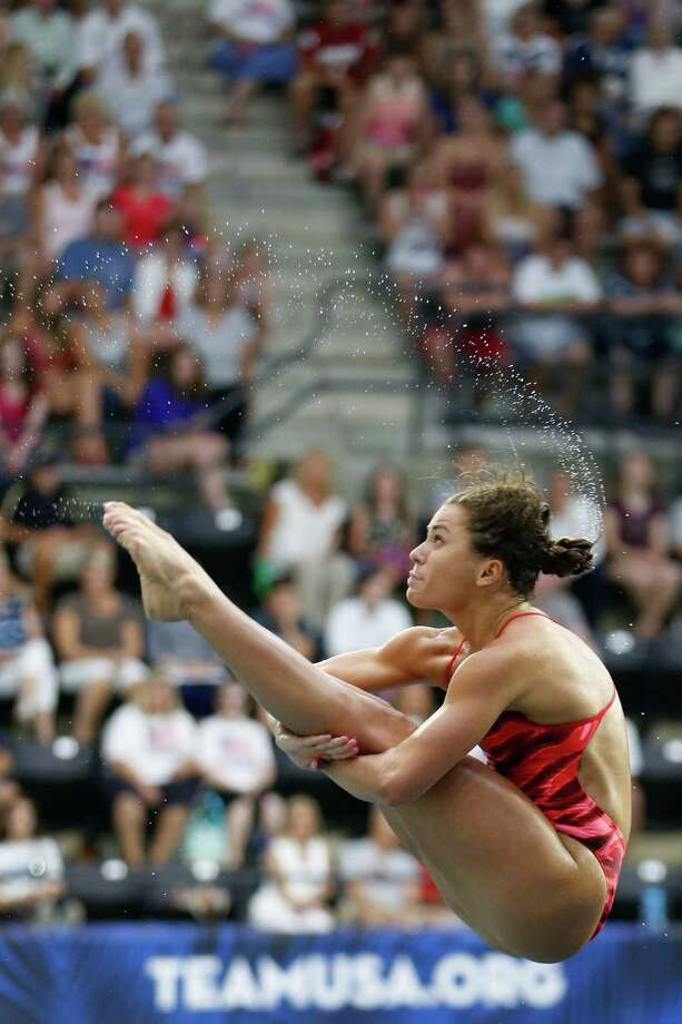 Kassidy Cook performs during the women's three-meter springboard final at the U.S. Olympic diving trials Sunday, June 26, 2016, in Indianapolis. Cook won the event. (AP Photo/AJ Mast) Photo: AJ Mast, Associated Press / FR123854 AP