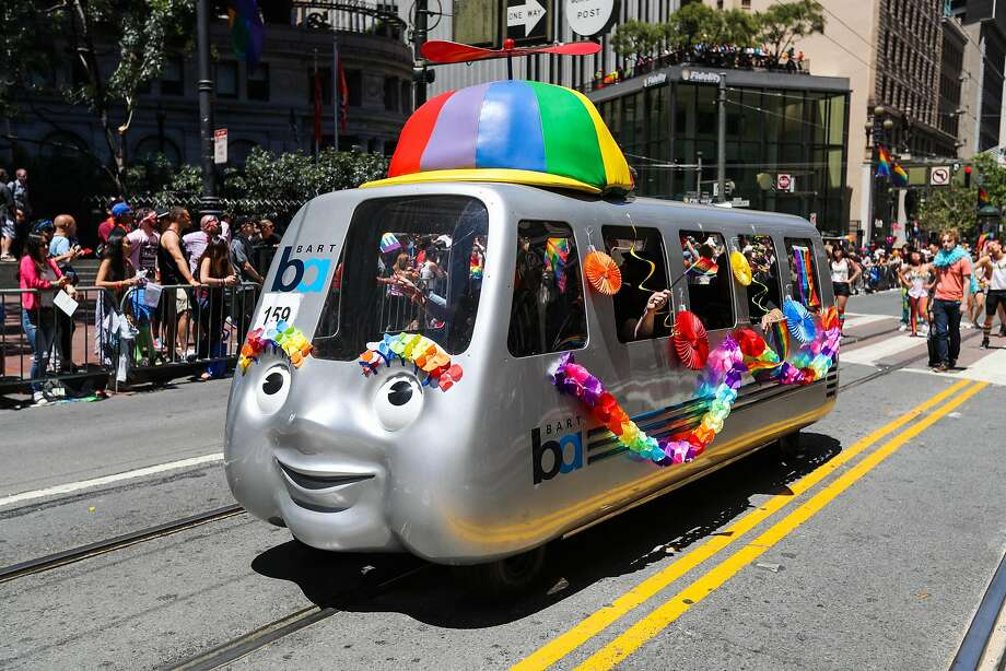 A BART replica float makes its way through the 46th annual LGBT Pride Parade, in San Francisco, California, on Sunday, June 26, 2016. Photo: Gabrielle Lurie, Special To The Chronicle