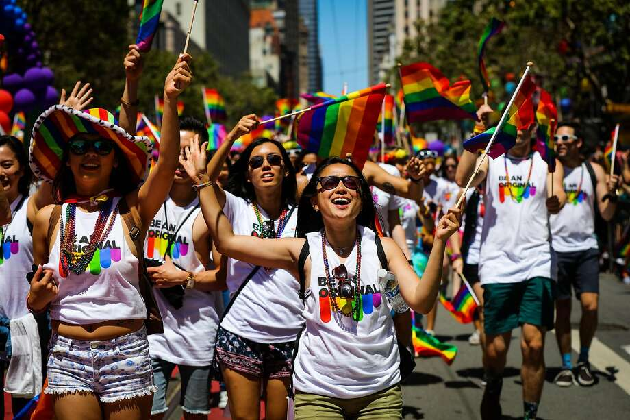 People dance to music while walking down Market Street as they participate in the 46th annual LGBT Pride Parade, in San Francisco, California, on Sunday, June 26, 2016. Photo: Gabrielle Lurie / Special To The Chronicle 2016