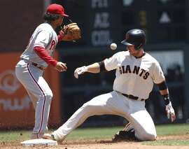 San Francisco Giants' Buster Posey slides safely into second as Philadelphia Phillies' Freddy Galvis covers during the third inning of a baseball game, Sunday, June 26, 2016, in San Francisco. (AP Photo/George Nikitin)