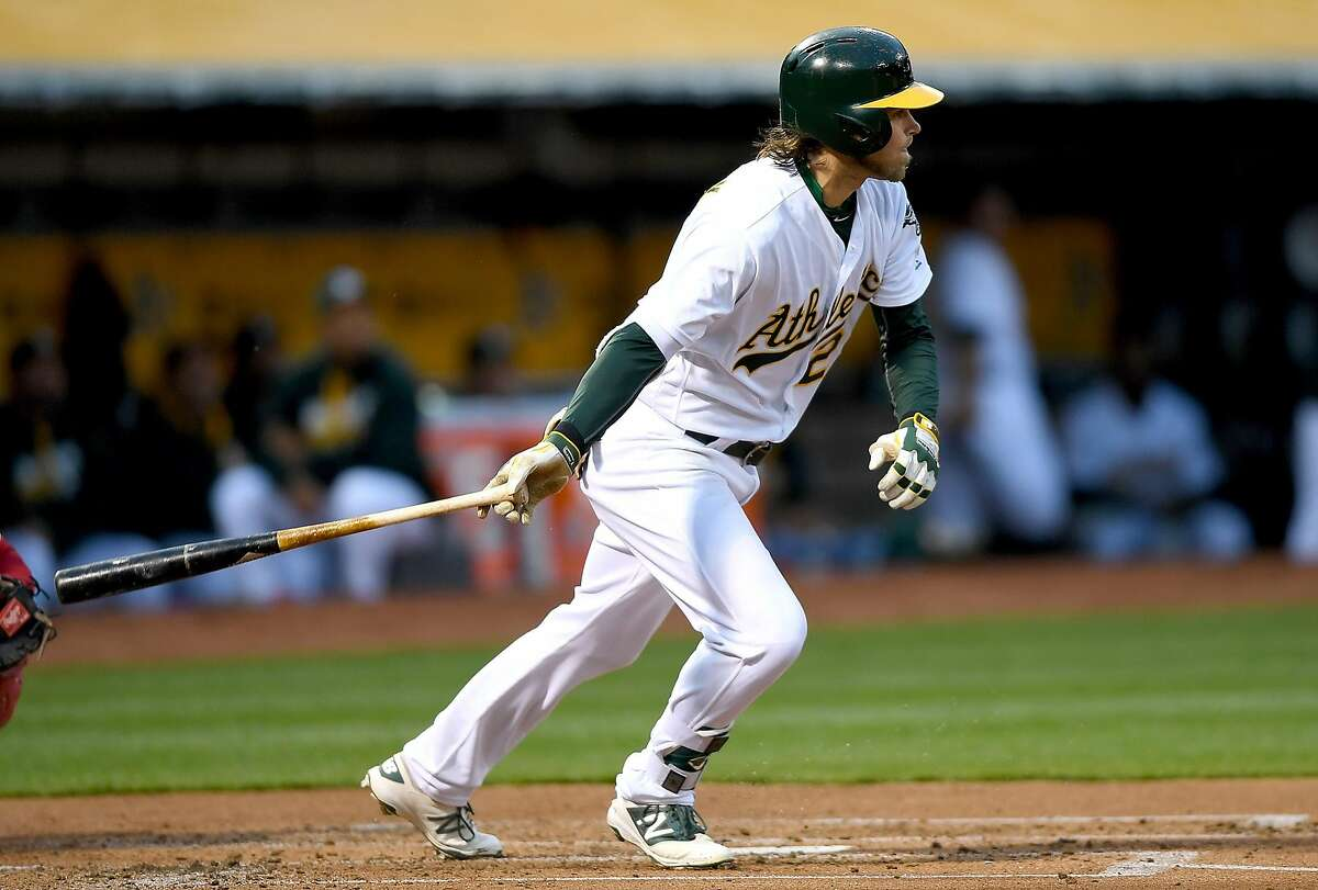 OAKLAND, CALIFORNIA - APRIL 12: Josh Reddick #22 of the Oakland Athletics hits an rbi single scoring Billy Burns #1 against the Los Angeles Angels of Anaheim in the bottom of the first inning at O.co Coliseum on April 12, 2016 in Oakland, California. (Photo by Thearon W. Henderson/Getty Images)