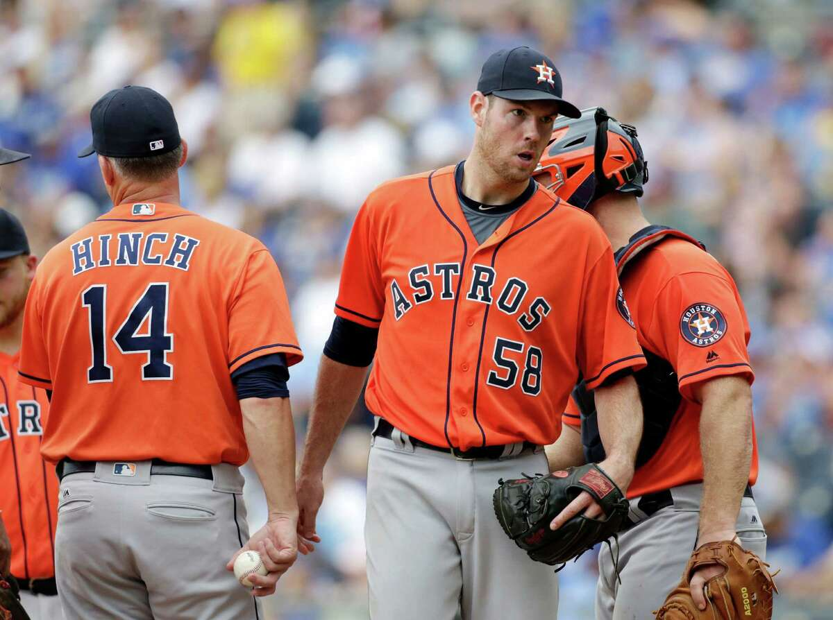 The Astros and skipper A.J. Hinch saw the end of a 10-game win streak in starts by Doug Fister (58). That's a single-season club record equaled over starts by Joe Niekro (1979), Nolan Ryan (1983) and Donne Wall (1996).