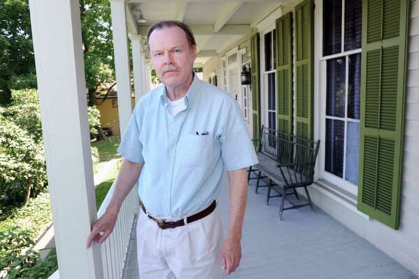 Nils Kerschus, a historical preservation consultant, on the front porch of the Bush-Holley House at the Greenwich Historical Society in Cos Cob, Conn., Wednesday, June 22, 2016. The Bush-Holley House was designated a National Historic Landmark in 1991 by the National Park Service.