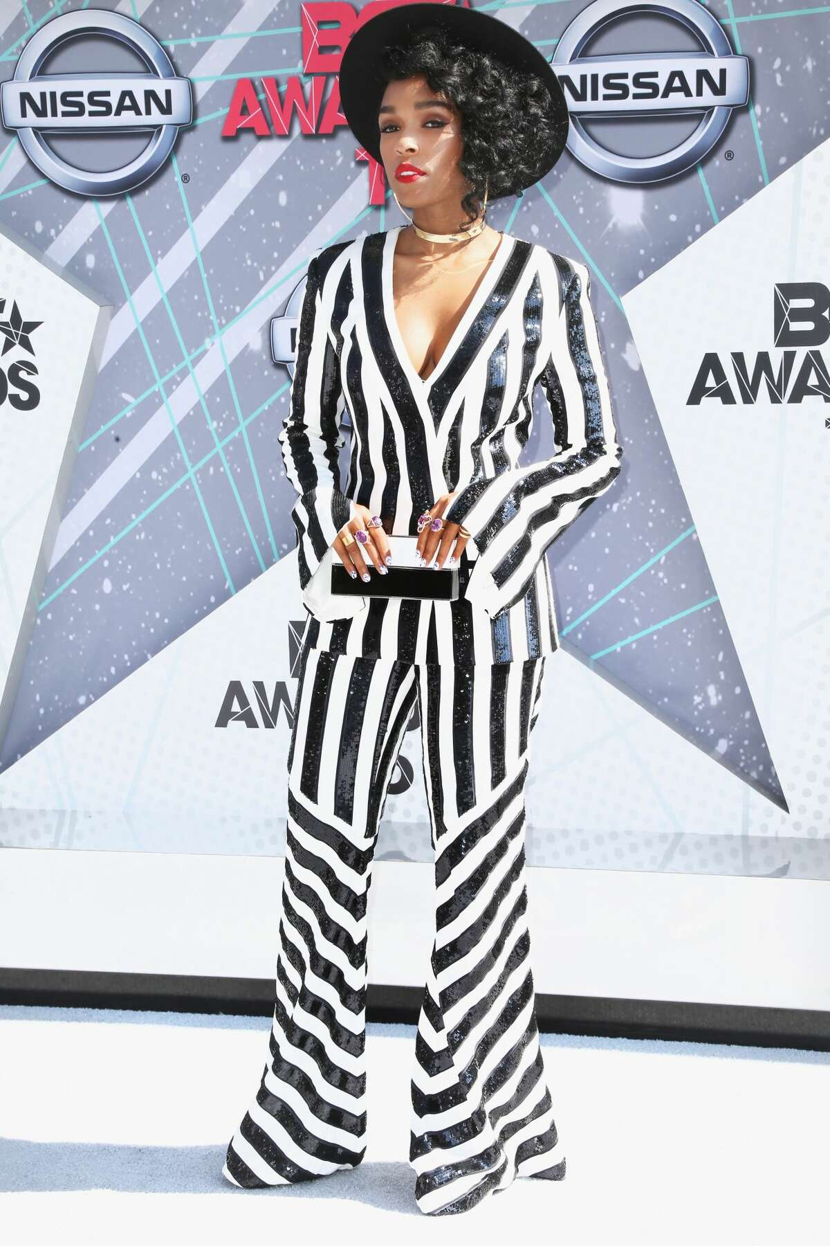Best: Janelle Monae Stripes like this always make us think of Beetlejuice, but maybe we'll think of Janelle Monae when we see them in the future. She wore this outfit at the BET awards show, Sunday, June 26, 2016, in Los Angeles.