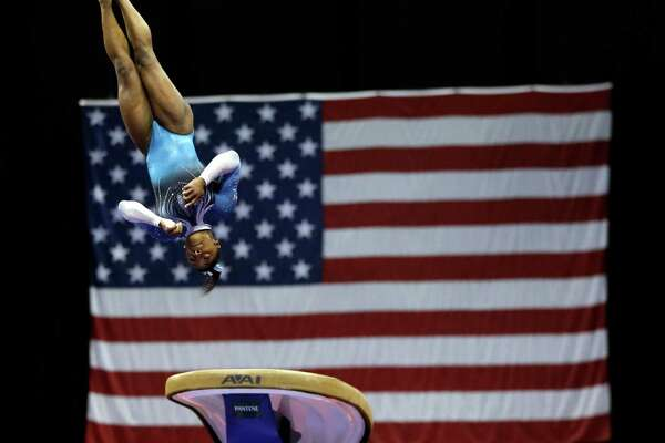 Simone Biles was a sight to behold on the vault, with her score of 9.9 coming within a tenth of a point of perfection.
