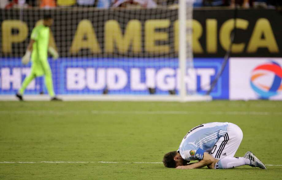 Argentina's Lionel Messi reacts after losing 4-2 to Chile in penalty kicks during the Copa America Centenario championship soccer match, Sunday, June 26, 2016, in East Rutherford, N.J. Photo: Julio Cortez, AP / Copyright 2016 The Associated Press. All rights reserved. This material may not be published, broadcast, rewritten or redistribu