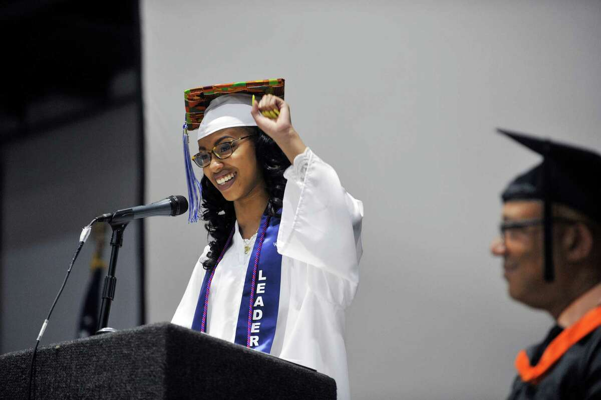 Albany High School class president, Nyra Lownes-Alexander addresses her fellow graduates during the school's graduation ceremony inside the SEFCU Arena on Sunday, June 26, 2016, in Albany, N.Y. This year the school graduated 480 students. (Paul Buckowski / Times Union)