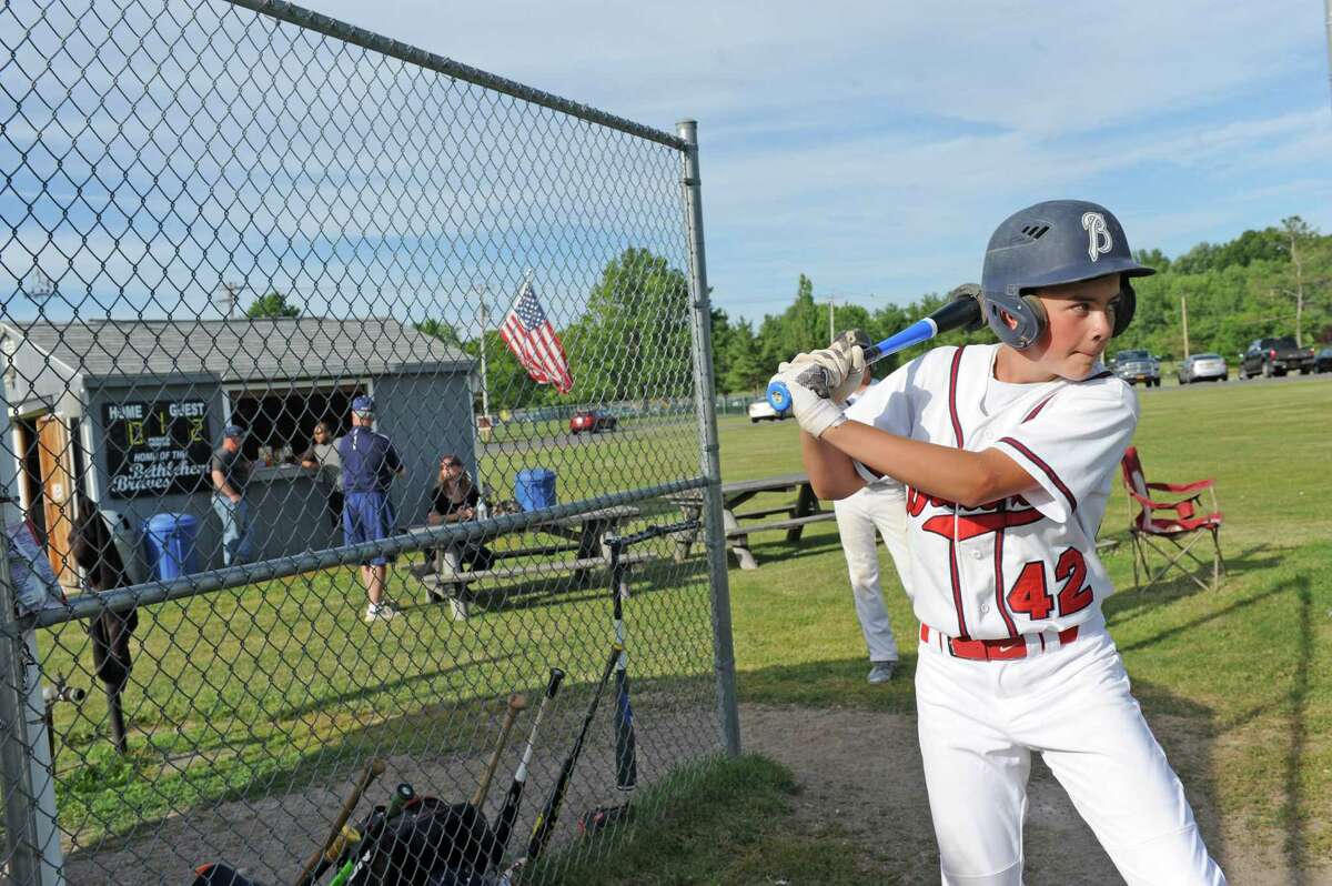 Bethlehem Brave Jason Reif takes some warm uo swings during a Mickey Mantle baseball league game against Hoosick Falls at the Elm Avenue Park baseball fields on Thursday June 23, 2016 in Delmar, N.Y. (Michael P. Farrell/Times Union)