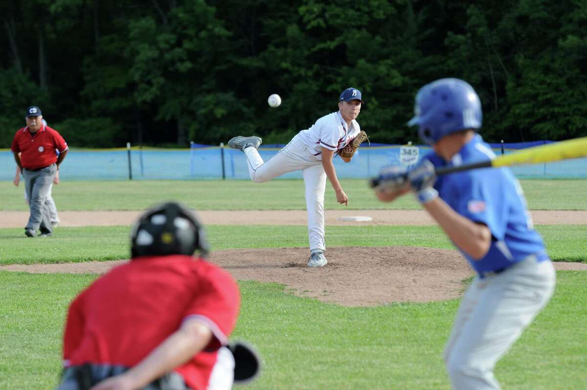 Zach Wood of the Bethlehem Braves deals a pitch during a Mickey Mantle baseball league game against Hoosick Falls at the Elm Avenue Park baseball fields on Thursday June 23, 2016 in Delmar, N.Y. (Michael P. Farrell/Times Union)