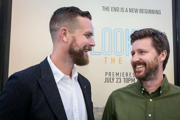 Executive Producer Michael Lannan and Director Andrew Haigh share a laugh at the premier of the HBO movie Looking at the Castro Theater in San Francisco on Sunday, June 26, 2015.