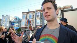 Actor Jonathan Groff talks to a reporter about his time in San Francisco at the premier of the HBO movie Looking at the Castro Theater in San Francisco on Sunday, June 26, 2015.