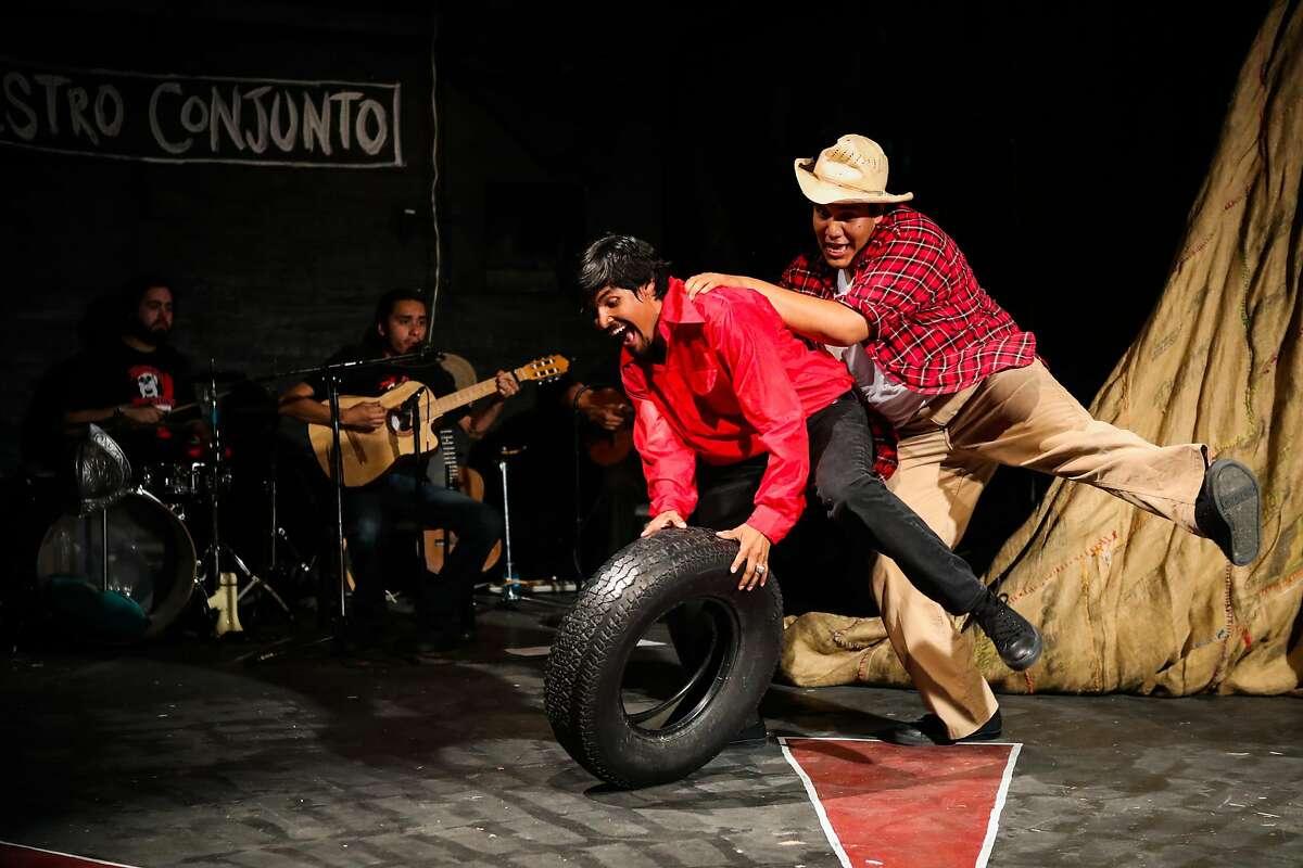 "Actors Andres Ortiz and Sedrick Cabrera (right) perform at the premiere of the show ""Viva La Causa"", at El Teatro Campesino, in San Juan Bautista, California, on Friday, June 24, 2016."