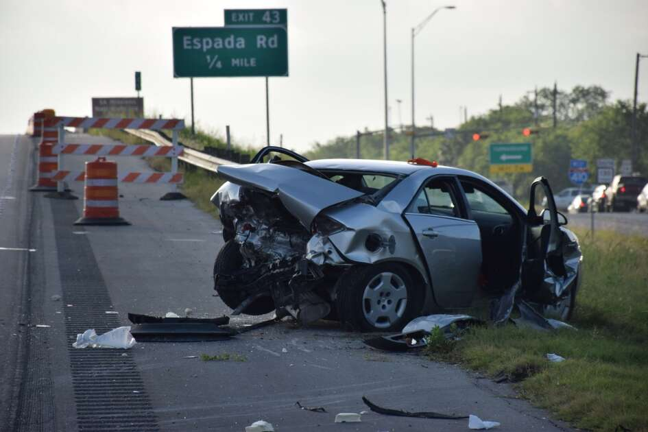 Two people were hospitalized following a crash on Loop 410 on the South Side June 27, 2016.