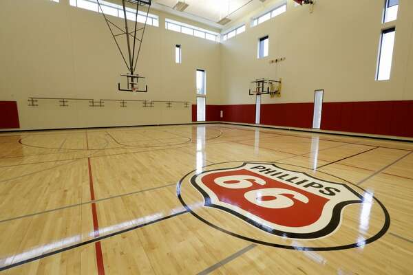 The basketball gym in the workout facility at the Phillips 66 headquarters, 2331 CityWest Blvd., is shown Tuesday, June 21, 2016, in Houston.  ( Melissa Phillip / Houston Chronicle )